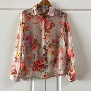 Hand of Gypsies Floral Cutout Top Size Medium